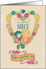 Happy Valentine's Day to Special Niece Flower Heart with Bird & Ribbon card