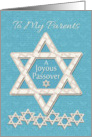 Happy Passover to Parents Joyous Passover Star of David Pattern card