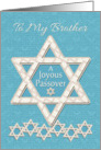 Happy Passover to Brother Joyous Passover Star of David Pattern card