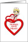 Nurses Day Nurses Have Heart Nurse with Heart Cap and Needle Cartoon card