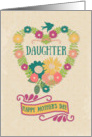 Happy Mother's Day Daughter Flower Heart with Bird and Ribbon card