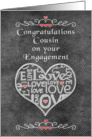 Engagement Congratulations to Cousin Chalkboard Look Word Art card