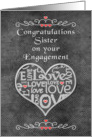 Engagement Congratulations to Sister Chalkboard Look Word Art card