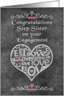 Engagement Congratulations to Step Sister Chalkboard Look Word Art card
