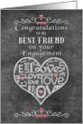 Engagement Congratulations to Best Friend Chalkboard Look Word Art card