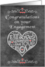 Engagement Congratulations Chalkboard Look Word Art and Hearts card