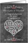 Engagement Congratulations Custom Names Chalkboard Look Word Art card