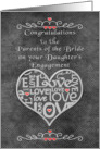 Engagement Congratulations to Bride's Parents Chalkboard Look Word Art card