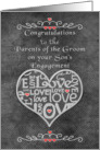 Engagement Congratulations to Groom's Parents Chalkboard Look Word Art card