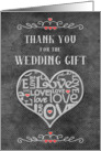 Thank You for the Wedding Gift Chalkboard Look Word Art and Hearts card