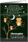 Get Well Soon for Kids Children's Custom Name Fantasy Animal Tiger Owl card