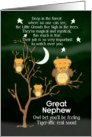 Get Well Soon for Great Nephew for Kids Fantasy Animal Tiger Owl card