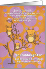 Get Well Soon Granddaughter Cute for Kids Fantasy Animal Tiger Owl card