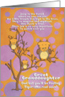 Get Well Soon Great Granddaughter for Kids Fantasy Animal Tiger Owl card