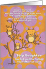 Get Well Soon Step Daughter for Kids Cute Fantasy Animal Tiger Owl card