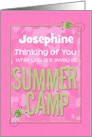 Thinking of You Away at Summer Camp Custom Name Pink Camo Ladybugs card