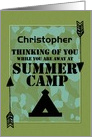 Thinking of You Away at Summer Camp Custom Name Camo Arrows and Tent card