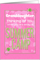 Thinking of You Granddaughter Away at Summer Pink Camp Camo Ladybugs card