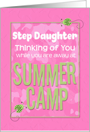 Thinking of You Step Daughter Away at Summer Pink Camp Camo Ladybugs card