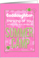 Thinking of You Goddaughter Away at Summer Pink Camp Camo Ladybugs card