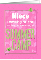 Thinking of You Niece Away at Summer Pink Camp Camo Ladybugs card