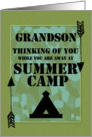 Thinking of You Grandson Away at Summer Camp Camo Arrows and Tent card