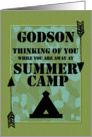 Thinking of You Godson Away at Summer Camp Camo Arrows and Tent card