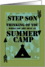 Thinking of You Step Son Away at Summer Camp Camo Arrows and Tent card