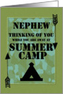 Thinking of You Nephew Away at Summer Camp Camo Arrows and Tent card