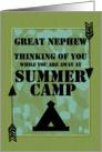 Thinking of You Great Nephew Away at Summer Camp Camo Arrows and Tent card