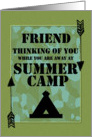 Thinking of You Friend Away at Summer Camp Camo Arrows and Tent card