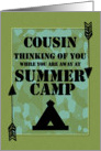 Thinking of You Cousin Away at Summer Camp Camo Arrows and Tent card