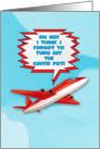 Bon Voyage Enjoy Vacation Funny Plane in Sky Cartoon Style card