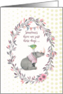 Encouragement Rhinoceros and Bird Cute Floral Wreath and Polka Dots card