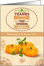 Thanksgiving to Clients Custom Business Name Pumpkins &Trendy Word Art card
