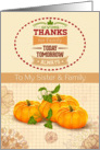 Thanksgiving to Sister and Family Holiday Pumpkins &Trendy Word Art card
