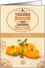 Thanksgiving to Sister Holiday Pumpkins &Trendy Word Art card