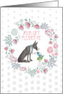 Thank You for the Gift Trendy Floral Wreath Great Dane and Birds card
