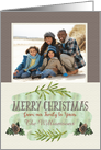 Merry Christmas Custom Name and Photo Our Family to Yours Pine Cones card