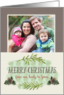 Merry Christmas Custom Photo Our Family to Yours Pine Cones and Leaves card