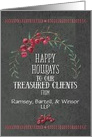 Happy Holidays Business to Clients Custom Business Name Berry Wreath card