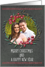 Merry Christmas & Happy New Year Berry Wreath Custom Photo Card