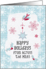 Happy Holidays From Across the Miles Snowflakes Pretty Winter Scene card