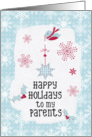 Happy Holidays to my Parents Snowflakes Pretty Winter Scene card