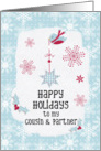 Happy Holidays to my Cousin and Partner Snowflakes Pretty Winter Scene card