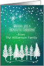 Merry Christmas Custom Name Beautiful Trees & Snow Winter Scene card