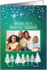 Merry Christmas Custom Photo Beautiful Trees & Snow Photo Card