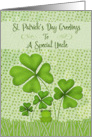 Happy St. Patrick's Day to a Special Uncle Four Leaf Clovers Frog card