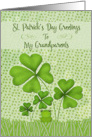 Happy St. Patrick's Day to Grandparents Four Leaf Clovers Frog card
