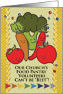 Thank You Church Food Pantry Volunteers Colorful Veggies and Patterns card
